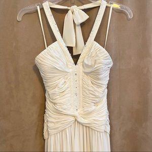 BCBG MAXAZRIA Long White Beaded Halter Dress sz M